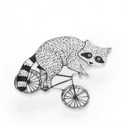 Брошь Енот на велосипеде
