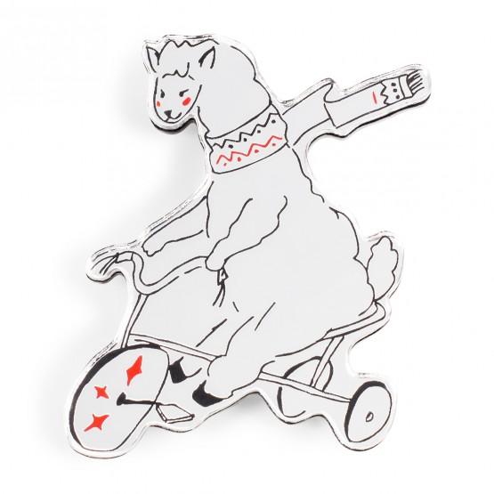 Брошь Альпака на велосипеде
