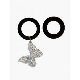 Серьги асимметричные с бабочкой (глиттер серебро)