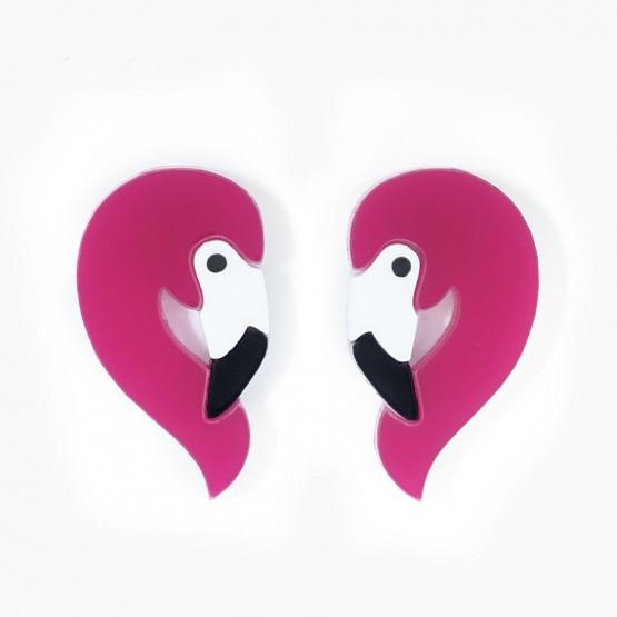 Серьги-гвоздики Фламинго