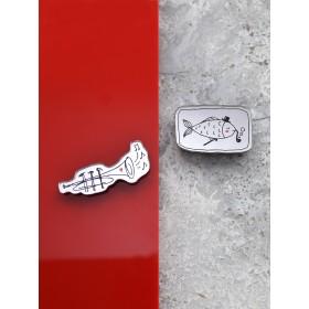 """Комплект брошей из двух """"Рыбы-трубы"""""""
